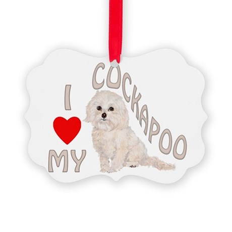 I Love My Cockapoo Picture Ornament