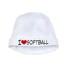 I Heart Softball baby hat