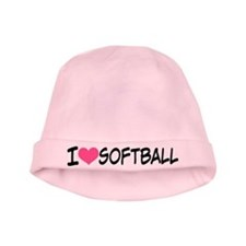 I Heart Softball baby hat