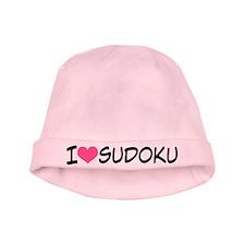 I Heart Sudoku baby hat