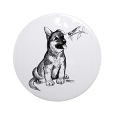 Puppy and Grasshopper Ornament (Round)