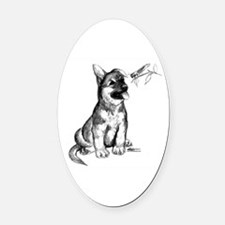 Puppy and Grasshopper Oval Car Magnet
