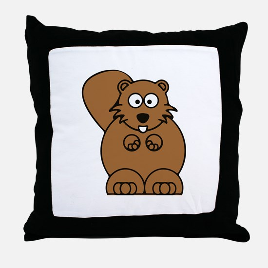 Front facing beaver Throw Pillow