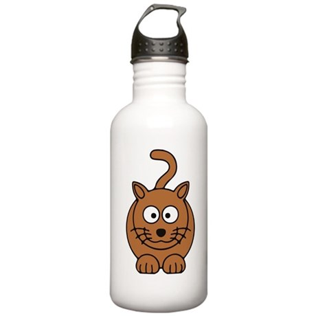 Front facing Cat Stainless Water Bottle 1.0L