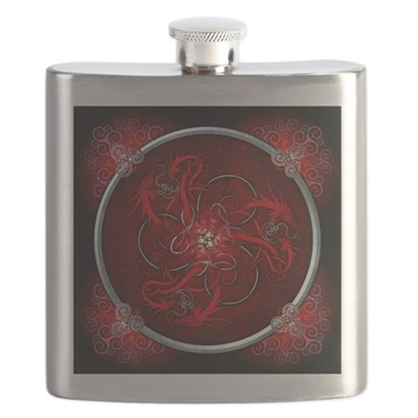Red Triple Celtic Dragons Flask