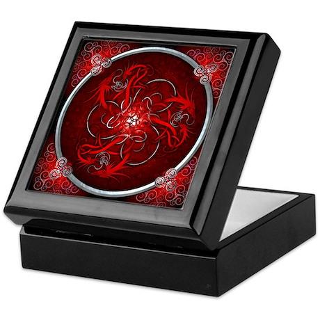 Red Triple Celtic Dragons Keepsake Box
