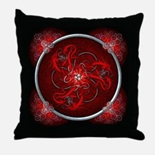 Red Triple Celtic Dragons Throw Pillow