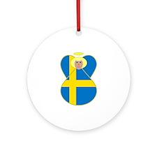 Small Swedish Flag Angel Blonde Hair Ornament (Rou