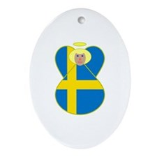 Small Swedish Flag Angel Blonde Hair Ornament (Ova