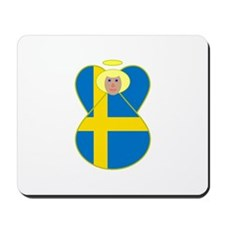 Small Swedish Flag Angel Blonde Hair Mousepad