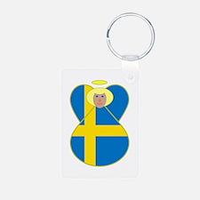 Swedish Flag Angel Blonde Hair Keychains
