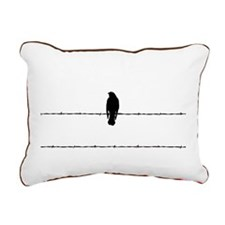 bird on barbed wire Rectangular Canvas Pillow