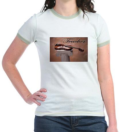 """""""Music Teacher Violin"""" Jr. Ringer T-Shirt"""