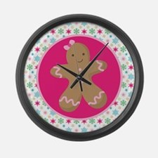 Christmas Gingerbread Girl Large Wall Clock