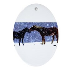 Snow Horse Friends Ornament (Oval)