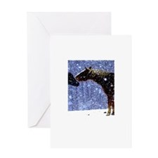 Snow Horse Friends Greeting Card
