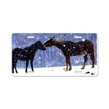 Snow Horse Friends Aluminum License Plate