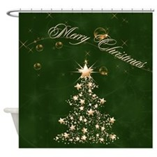 Green Golden Christmas Shower Curtain