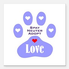 "Paw Of Love Square Car Magnet 3"" x 3"""