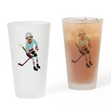 Sock Monkey Ice Hockey Player Drinking Glass