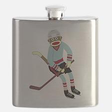 Sock Monkey Ice Hockey Player Flask