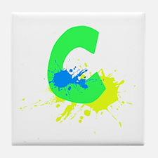 Letter C Paint Tile Coaster