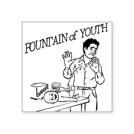 """Fountain of Youth"" Square Sticker 3"" x 3"""