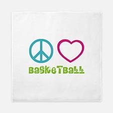 Peace Love Basketball Queen Duvet