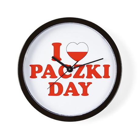 I Heart Paczki Day Wall Clock