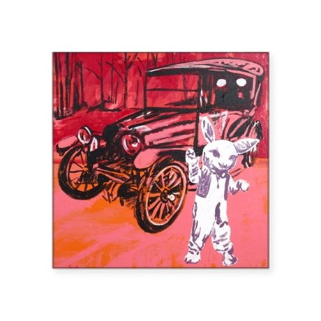 "Classic car mascot Square Sticker 3"" x 3"""