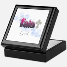 faith in God pink and blue bubbles Keepsake Box