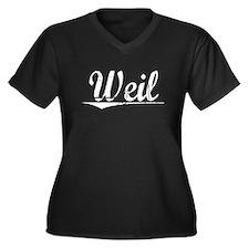 Weil, Vintage Women's Plus Size V-Neck Dark T-Shir