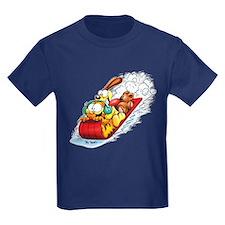 Sledding Fun! Kids Dark T-Shirt
