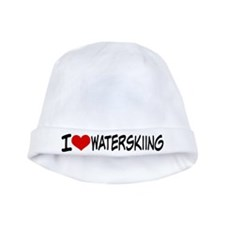 I Heart Waterskiing baby hat