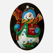 Snowman with broom Ornament (Oval)