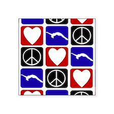 """Peace Love Tumble Square Sticker 3"""" x 3"""""""