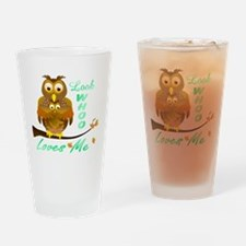 Mom and Baby Owl Who Loves Me Drinking Glass