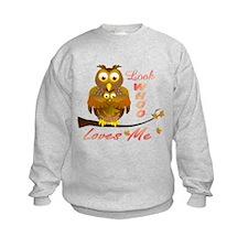 Mom and Baby Girl Owl in full hug Sweatshirt