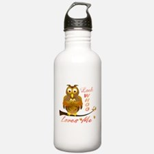 Mom and Baby Girl Owl in full hug Water Bottle