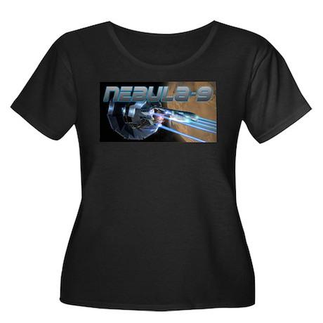 Nebula-9 Women's Plus Size Scoop Neck Dark T-Shirt