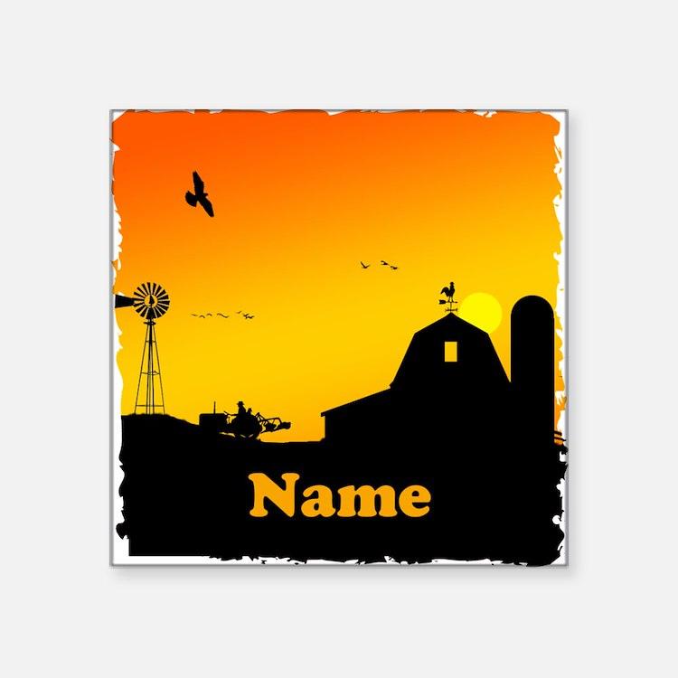 """Sunrise at the Farm Square Sticker 3"""" x 3"""""""
