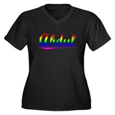 Abdul, Rainbow, Women's Plus Size V-Neck Dark T-Sh