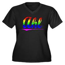 Ahl, Rainbow, Women's Plus Size V-Neck Dark T-Shir