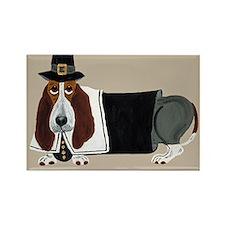 Basset Hound Thanksgiving Pilgrim Rectangle Magnet