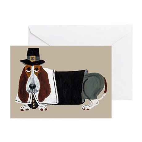 Basset Hound Thanksgiving Pilgrim Greeting Cards (