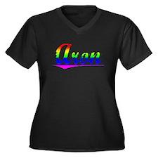 Aron, Rainbow, Women's Plus Size V-Neck Dark T-Shi