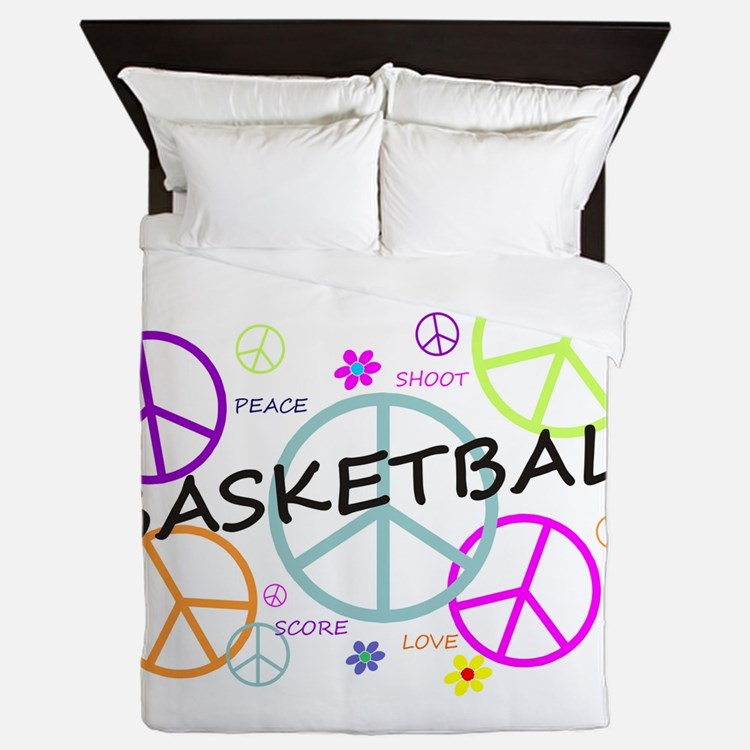 Colored Peace Signs Basketball Queen Duvet
