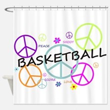 Colored Peace Signs Basketball Shower Curtain