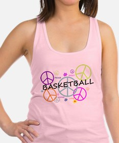 Colored Peace Signs Basketball Racerback Tank Top