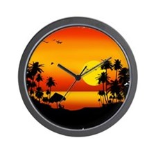 Island Sunset Wall Clock